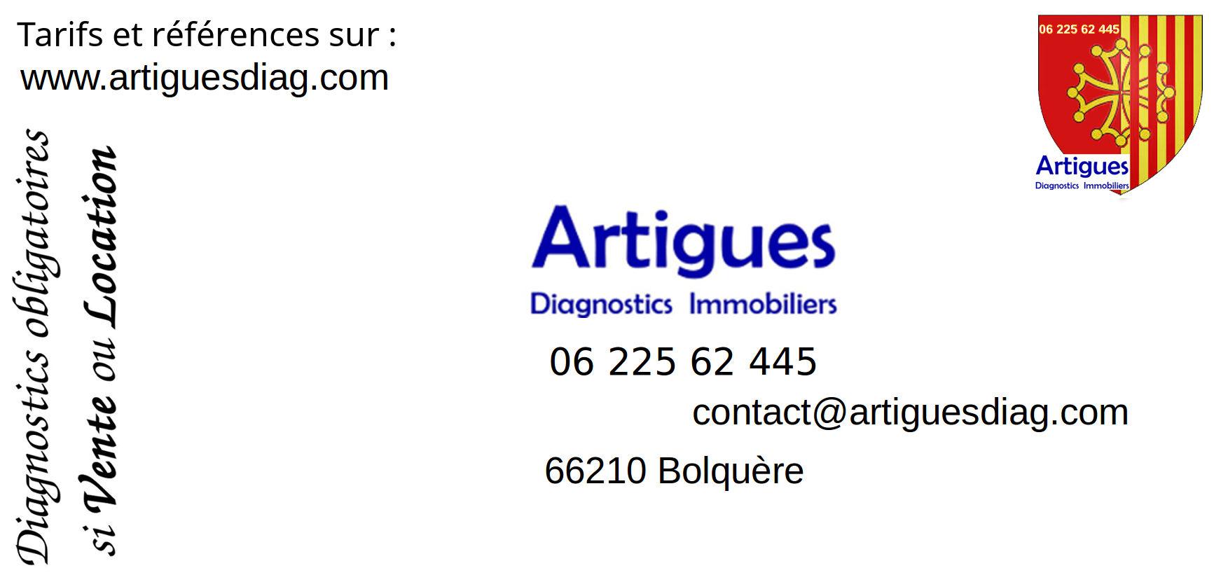 Carte de visite d'ARTIGUES diagnostics immobiliers en Conflent, Cerdagne, Haute Ariège, Pyrénées Audoises et Catalanes