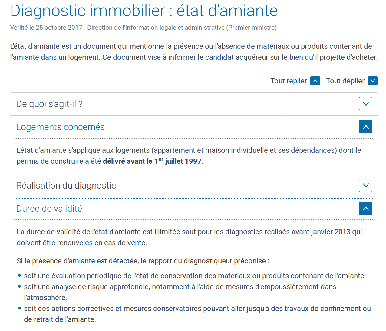 Diagnostic Amiante, diagnostic immobilier état d'amiante