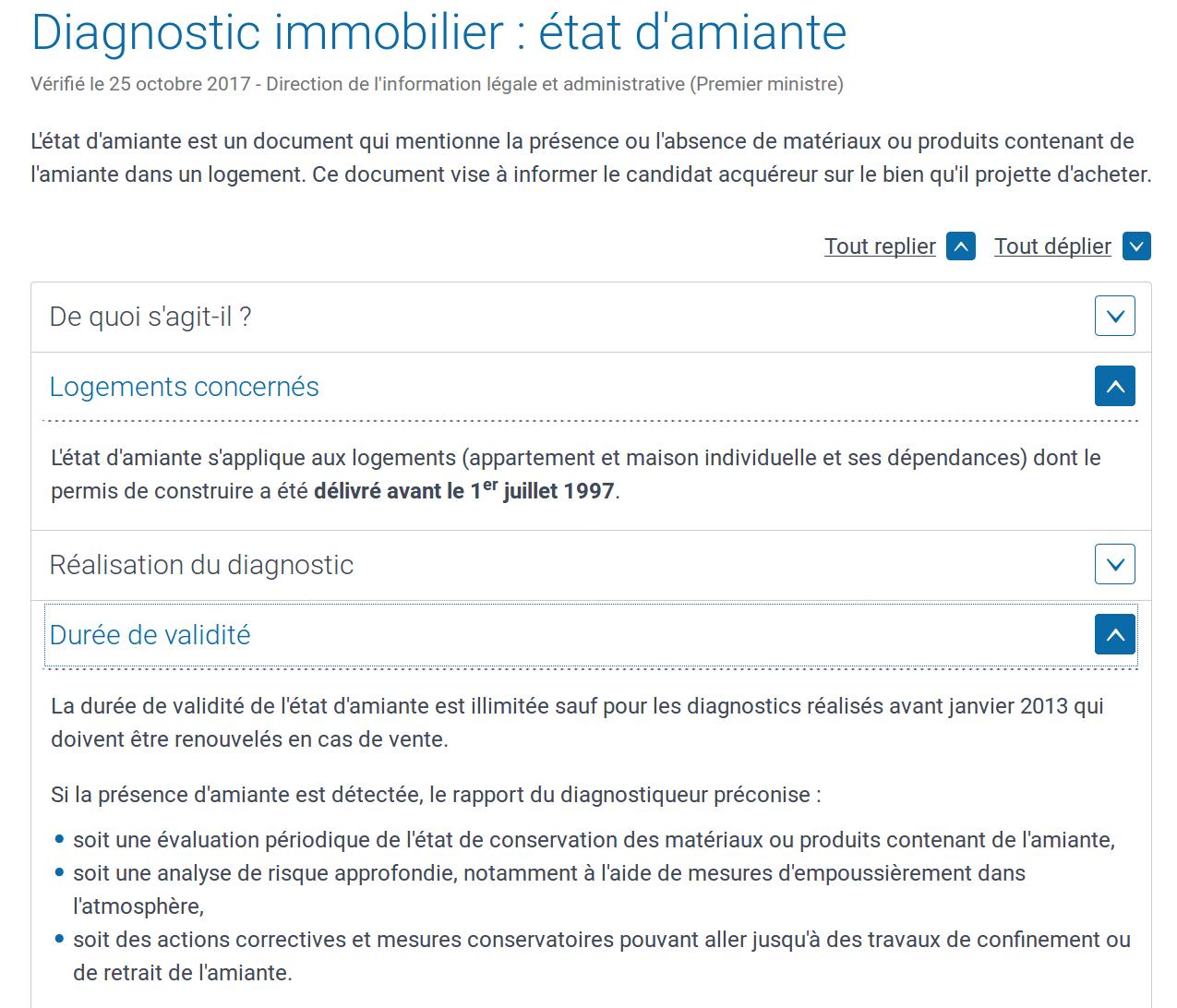 Amiante, photo d'écran extraite du site Service-public-fr le 4 mars 2018, logements concernés, durée de validité
