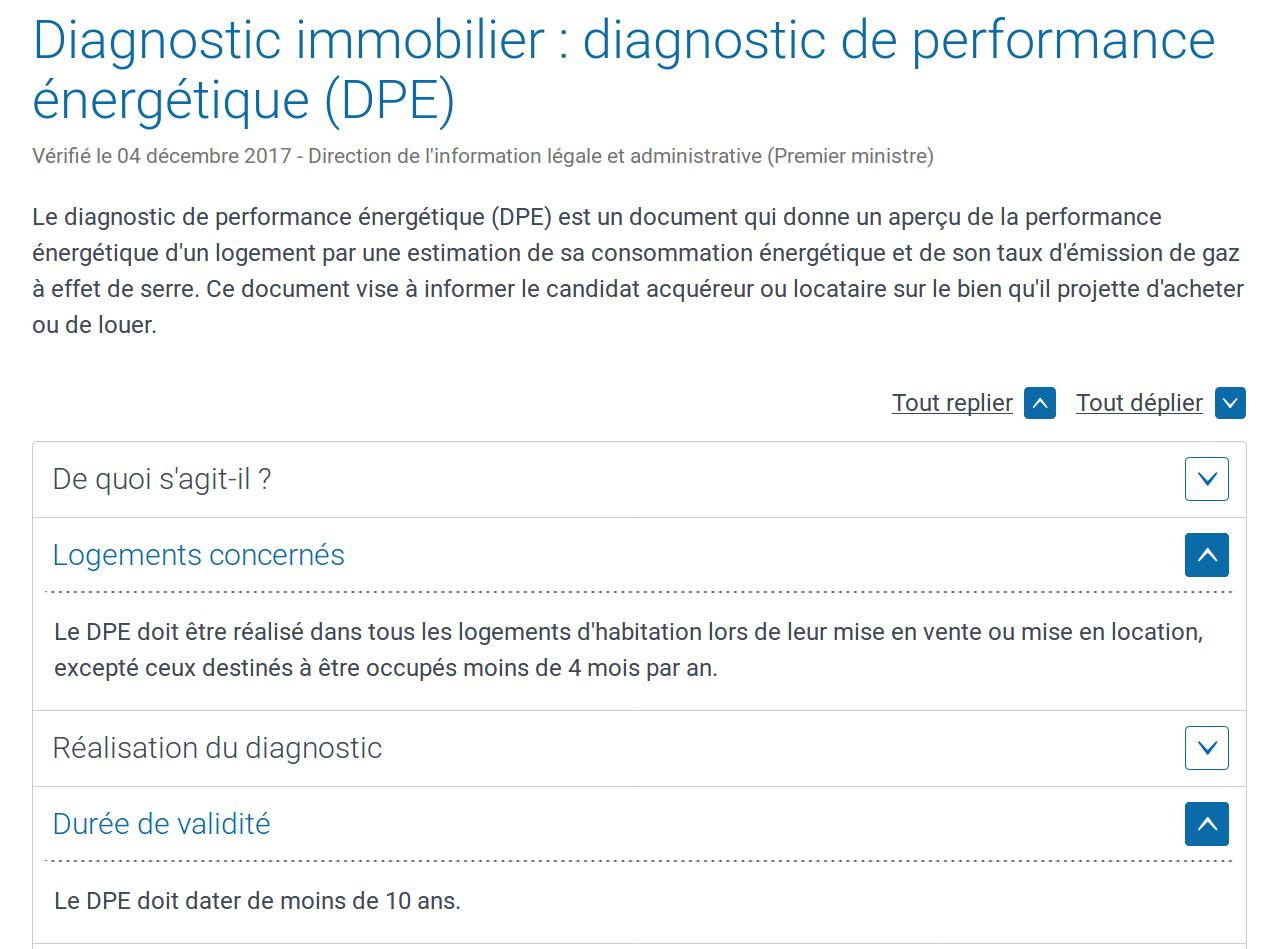DPE immobilier Performance Energétique service-public.fr