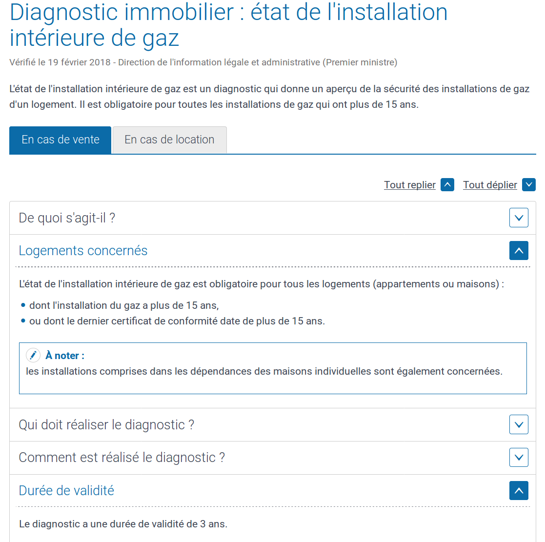 Etat de l'installation intérieure de gaz obligatoire en cas de vente