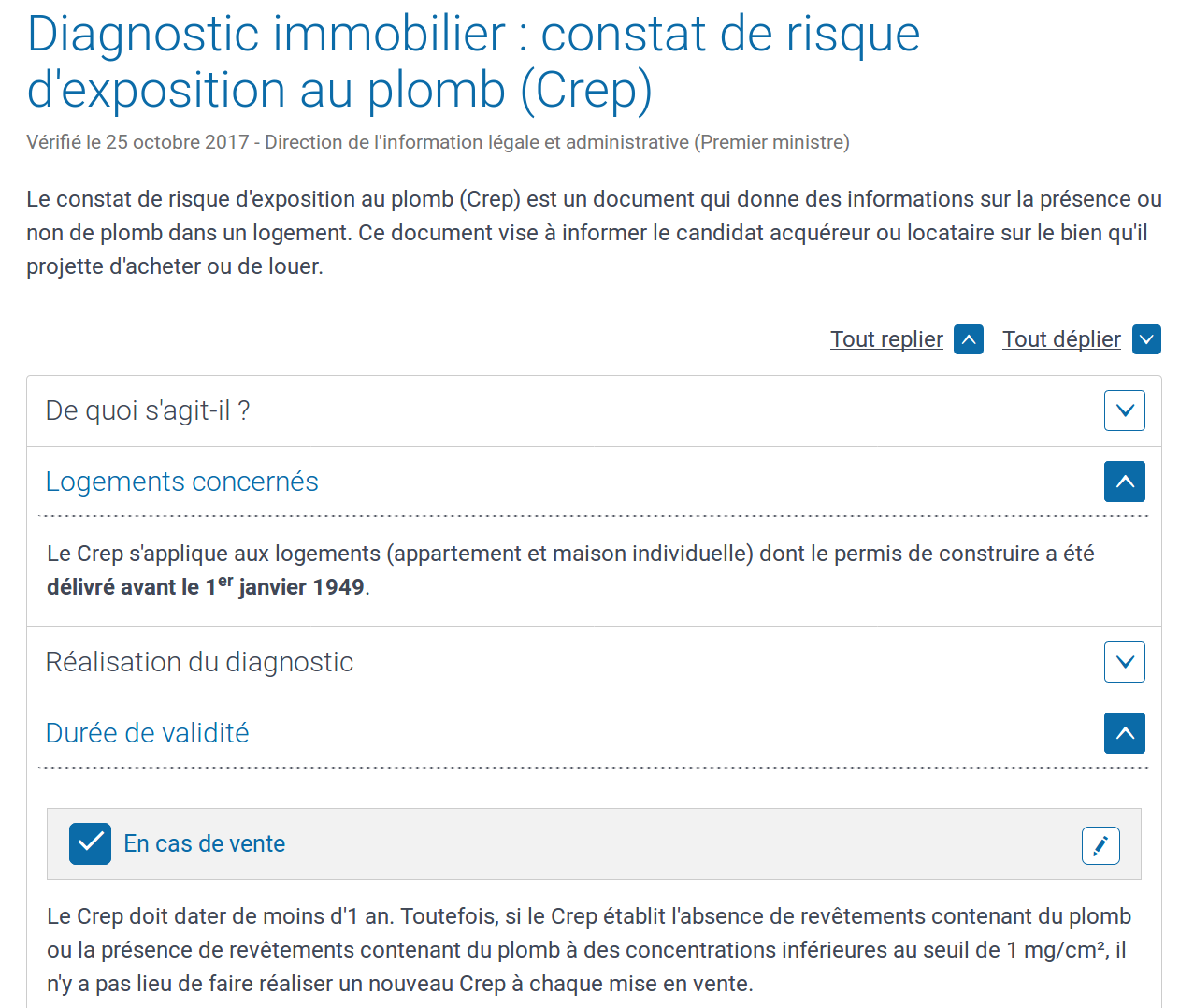 Constat de Risque d'Exposition au Plomb CREP photo d'écran du site Service-Public-fr logements concernés cas de vente