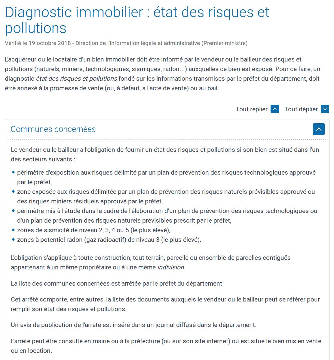 ERP, Etat des Risques et Pollutions, sismique, radon, inondation